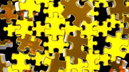 Golden Jigsaw Puzzle On Black Background