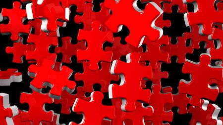 Red Jigsaw Puzzle On Black Background