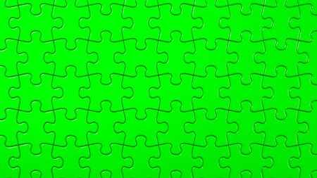 Green Jigsaw Puzzle On Black Background
