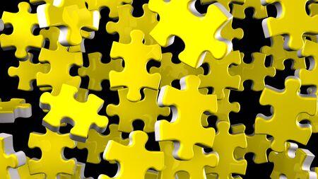 Yellow Jigsaw Puzzle On Black Background