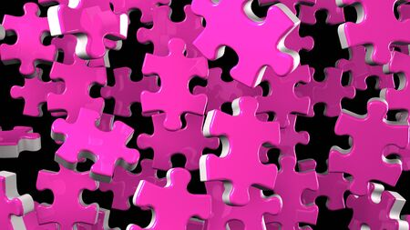 Pink Jigsaw Puzzle On Black Background