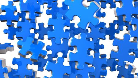 Blue Jigsaw Puzzle On White Background 写真素材