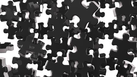 Black Jigsaw Puzzle On White Background 写真素材