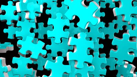 Pale Blue Jigsaw Puzzle On Black Background