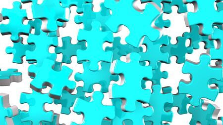 Pale Blue Jigsaw Puzzle On White Background