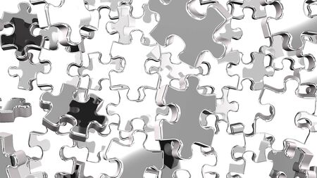 Silver Jigsaw Puzzle On White Background 写真素材