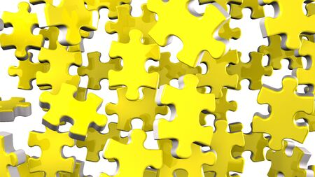 Yellow Jigsaw Puzzle On White Background