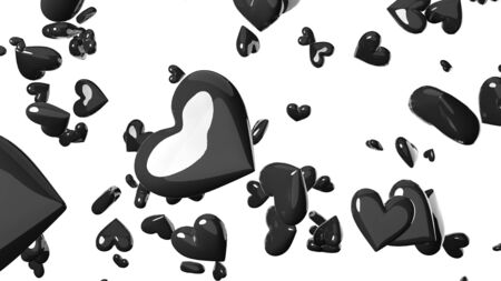 Black heart objects in white background. Cool heart-shape abstract 3D illustration. 免版税图像