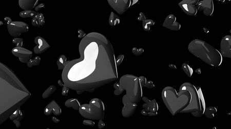 Black heart objects in black background. Cool heart-shape abstract 3D illustration.
