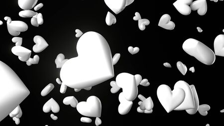 White heart objects in black background. Cute heart-shape abstract 3d illustration. Stockfoto