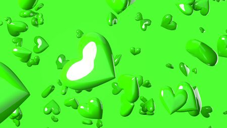 Green heart objects in green background. Cute heart-shape abstract illustration.