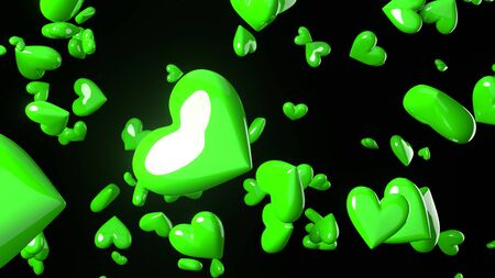 Green heart objects in black background. Cute heart-shape abstract illustration.