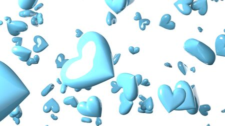 Pale blue heart objects in white background. Cute heart-shape abstract illustration. Stockfoto