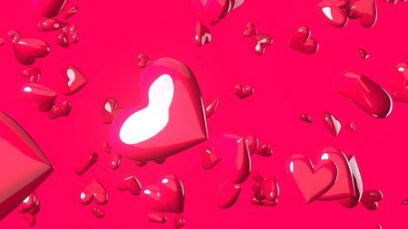 Pink heart objects in pink background. Cute heart-shape abstract illustration.