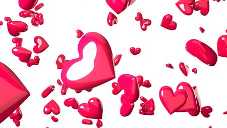 Pink heart objects in white background. Cute heart-shape abstract illustration. Stockfoto
