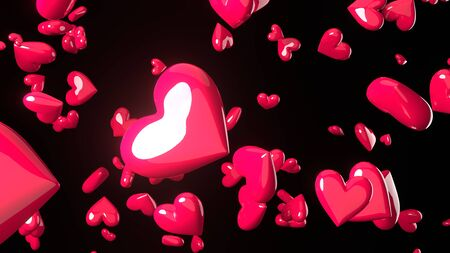Pink heart objects in black background. Cute heart-shape abstract illustration.