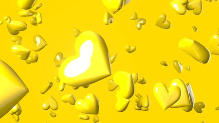 Yellow heart objects in yellow background. Cute heart-shape abstract illustration.