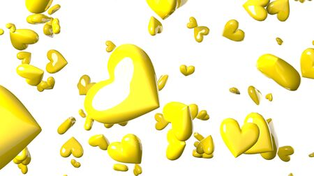 Yellow heart objects in white background. Cute heart-shape abstract illustration. Stockfoto