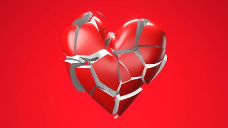 Red broken heart objects in red background. Heart shape object shattered into pieces.