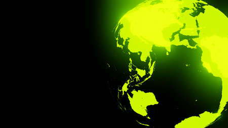 Green holographic globe on black text space.