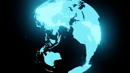 Blue holographic globe on black background. 写真素材