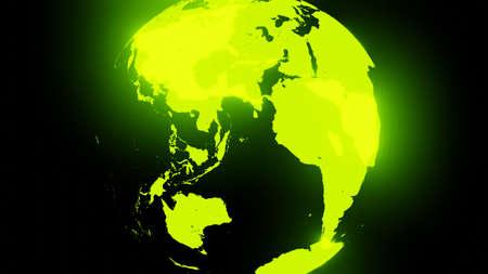 Green holographic globe on black background.