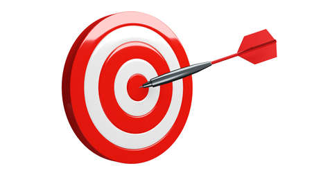 Red dart arrow hits target.Isolated on white background.3d illustration.