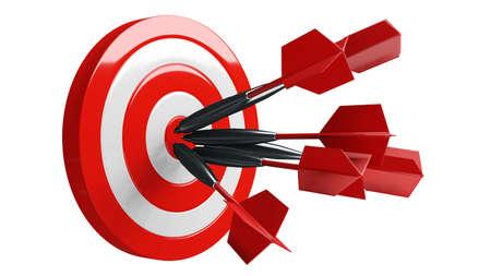 Some red dart arrows hit target.3d illustration.
