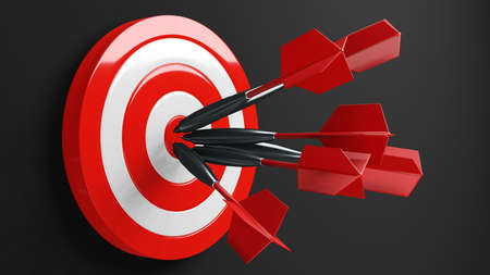 All dart arrows missed target.3d illustration. 写真素材