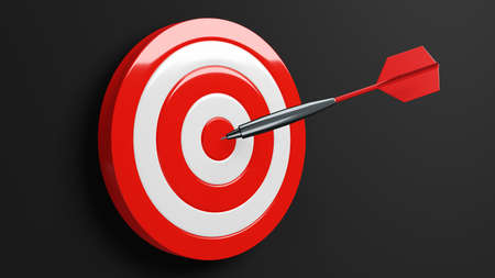 Red dart arrow hits target.Isolated on black background.3d illustration.