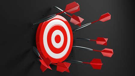 All dart arrows missed target.3d illustration. Stock Photo