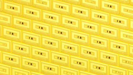Many yellow cassette tapes on yellow background.3d illustration for background. 写真素材
