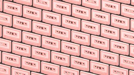 Many baby pink cassette tapes on black background.3d illustration for background. 写真素材
