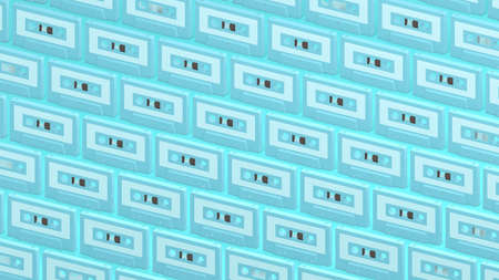 Many pale blue cassette tapes on pale blue background.3d illustration for background.