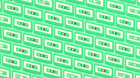 Many pale green cassette tapes on pale green background.3d illustration for background. 写真素材