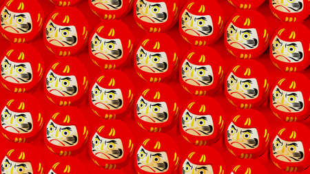 Red Daruma dolls on red background. 3D illustration for background.