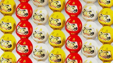3 colors Daruma dolls on white background. 3D illustration for background.