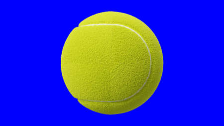 Tennis ball on blue chroma key. 3d illustration for background. Archivio Fotografico