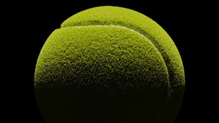 Tennis ball on black background. 3d illustration for background. Archivio Fotografico