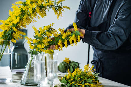 Woman placing bouquet of mimosa on a dining table.