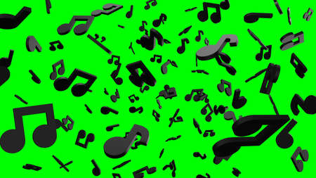 Black musical notes on green chroma key background. 3D rendering abstract illustration. Archivio Fotografico