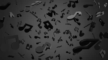 Black musical notes on gray background. 3D rendering abstract illustration. Archivio Fotografico