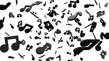 Black musical notes on white background. 3D rendering abstract illustration. Archivio Fotografico