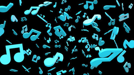 Blue musical notes on black background. 3D rendering abstract illustration.