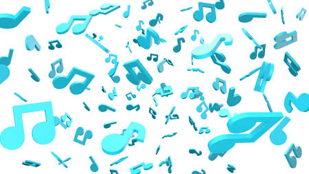 Blue musical notes on white background. 3D rendering abstract illustration. Archivio Fotografico