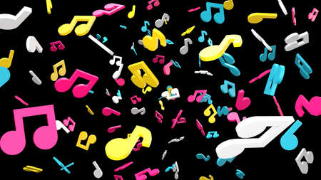 Colorful musical notes on black background. 3D rendering abstract illustration.
