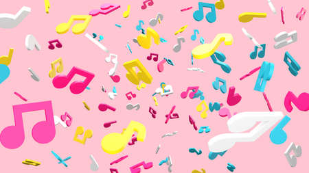 Colorful musical notes on pale pink background. 3D rendering abstract illustration. Archivio Fotografico