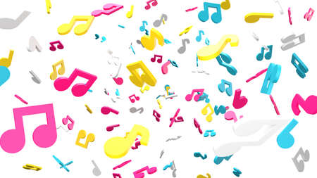 Colorful musical notes on white background. 3D rendering abstract illustration. Archivio Fotografico