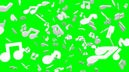 White musical notes on green chroma key background. 3D rendering abstract illustration.