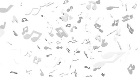 White musical notes on white background. 3D rendering abstract illustration.